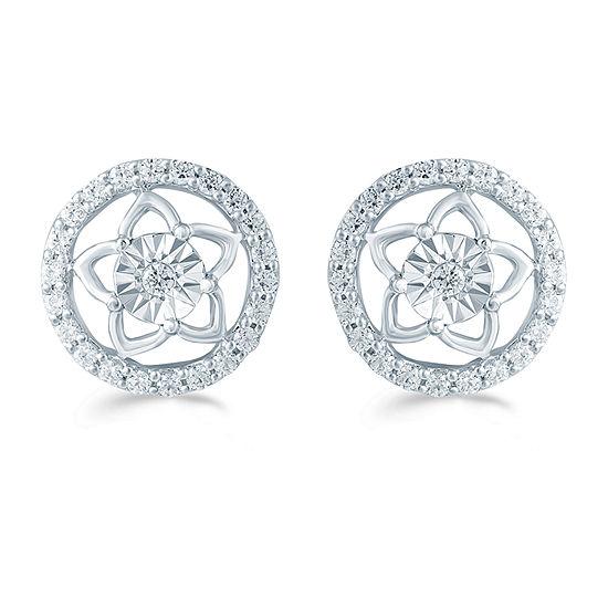 1/3 CT. T.W. Genuine White Diamond Sterling Silver 10.4mm Stud Earrings
