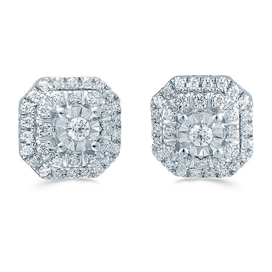 1/4 CT. T.W. Genuine White Diamond Sterling Silver 7.7mm Stud Earrings