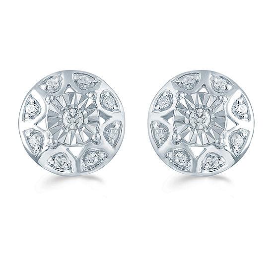 1/5 CT. T.W. Genuine White Diamond Sterling Silver 9.7mm Stud Earrings