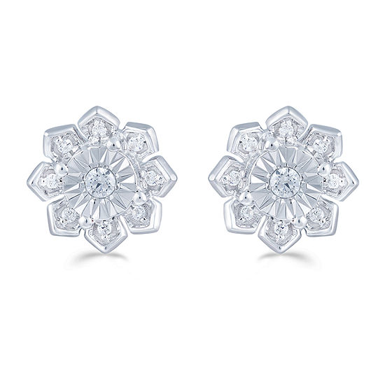 1/6 CT. T.W. Genuine White Diamond 9.4mm Flower Stud Earrings