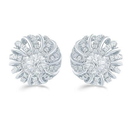 1/2 CT. T.W. Genuine White Diamond Sterling Silver 12.1mm Flower Stud Earrings, One Size