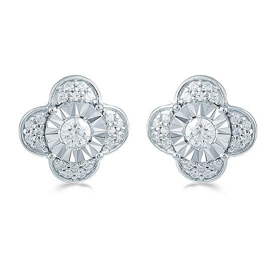 3/8 CT. T.W. Genuine White Diamond Sterling Silver 10.6mm Flower Stud Earrings
