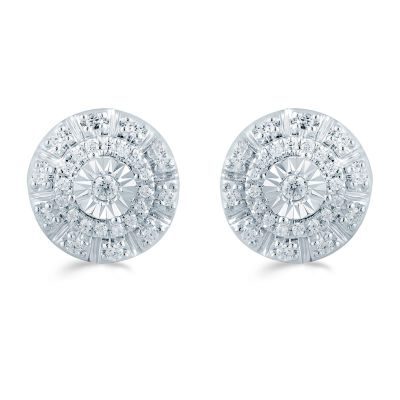 1/4 CT. T.W. Genuine White Diamond Sterling Silver 9.7mm Stud Earrings