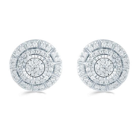 1/2 CT. T.W. Genuine White Diamond Sterling Silver 11.3mm Stud Earrings