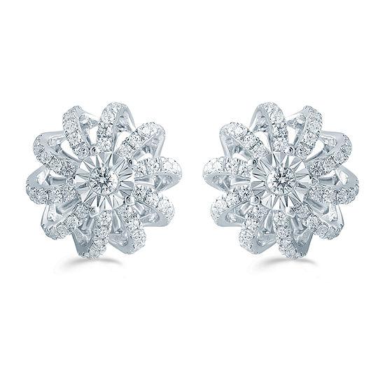 1/2 CT. T.W. Genuine White Diamond Sterling Silver 11.9mm Flower Stud Earrings