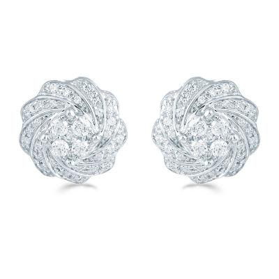1/2 CT. T.W. Genuine White Diamond 11.8mm Flower Stud Earrings