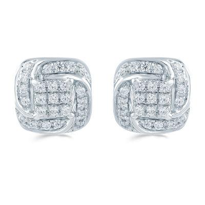 1/4 CT. T.W. Genuine White Diamond 8.6mm Stud Earrings