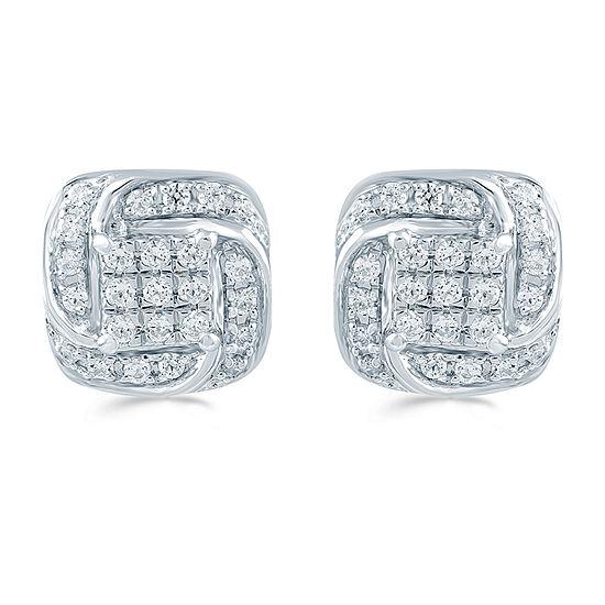 1/4 CT. T.W. Genuine White Diamond Sterling Silver 8.6mm Stud Earrings