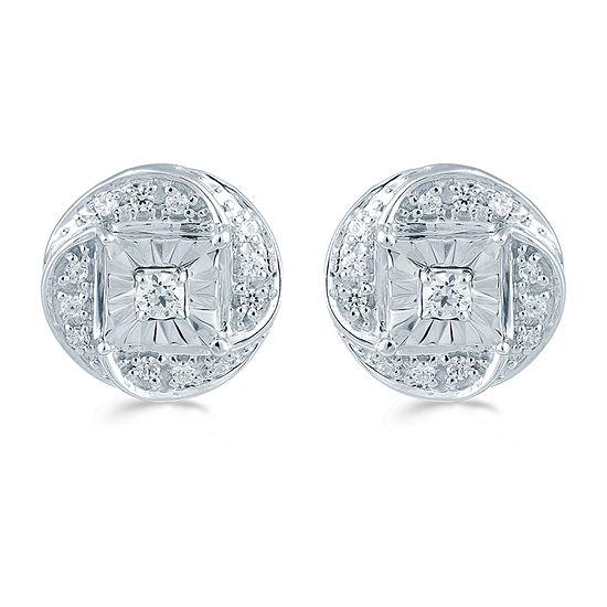 1/6 CT. T.W. Genuine White Diamond Sterling Silver 8.9mm Stud Earrings