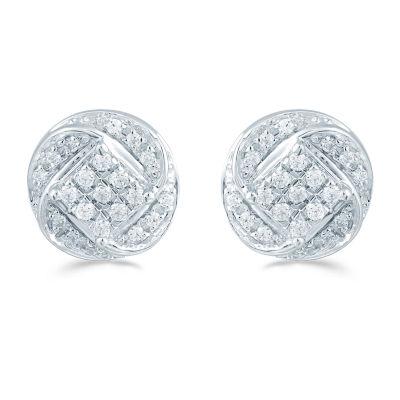 1/5 CT. T.W. Genuine White Diamond 8.8mm Stud Earrings