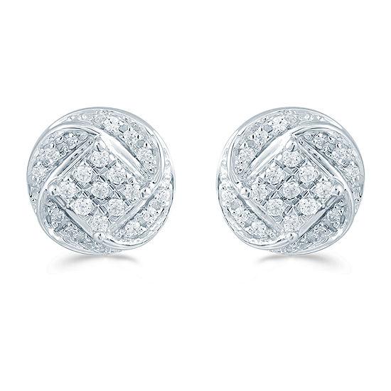 1/5 CT. T.W. Genuine White Diamond Sterling Silver 8.8mm Stud Earrings