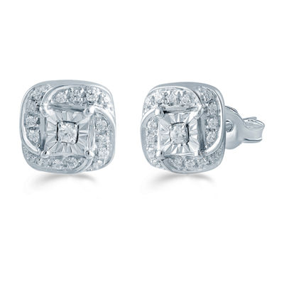 1/5 CT. T.W. Genuine White Diamond Sterling Silver 8.6mm Stud Earrings