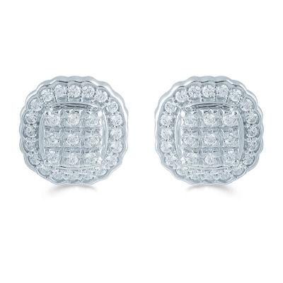 1/2 CT. T.W. Genuine White Diamond Sterling Silver 10.9mm Stud Earrings