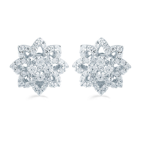 1/2 CT. T.W. Genuine White Diamond Sterling Silver 10.3mm Star Stud Earrings