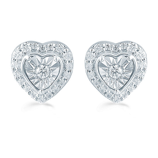 1/4 CT. T.W. Genuine White Diamond Sterling Silver 8.4mm Heart Stud Earrings