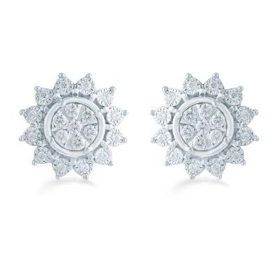 1/3 CT. T.W. Genuine White Diamond 11.9mm Flower Stud Earrings