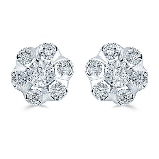 1/4 CT. T.W. Genuine White Diamond Sterling Silver 10.9mm Flower Stud Earrings