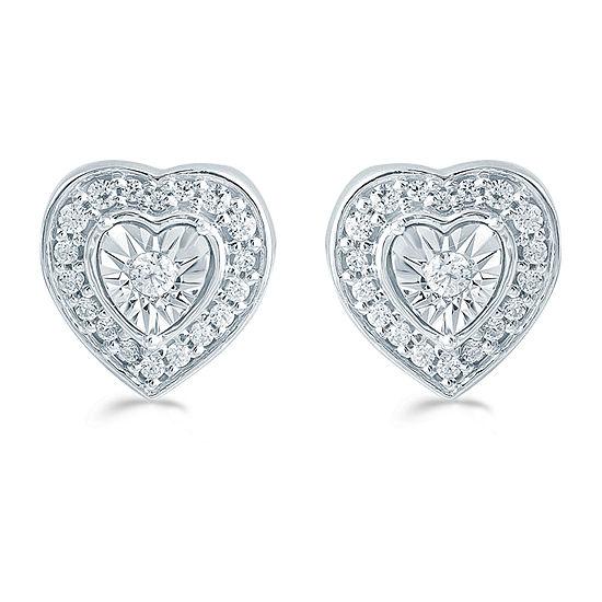 1/4 CT. T.W. Genuine White Diamond Sterling Silver 9.6mm Heart Stud Earrings