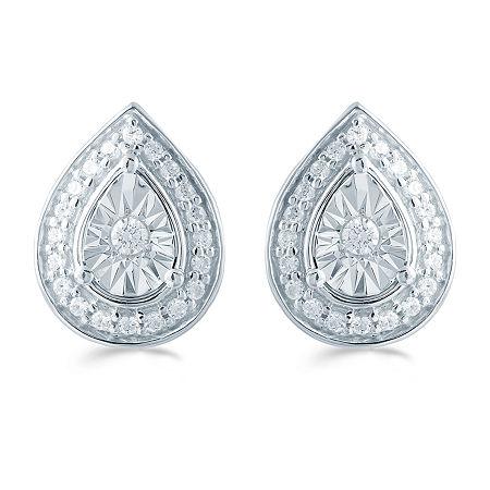 1/5 CT. T.W. Genuine White Diamond Sterling Silver 10.6mm Stud Earrings, One Size