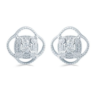 1/5 CT. T.W. Genuine White Diamond 11.4mm Flower Stud Earrings