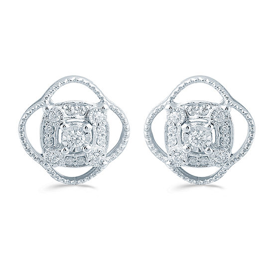 1/5 CT. T.W. Genuine White Diamond Sterling Silver 11.4mm Flower Stud Earrings