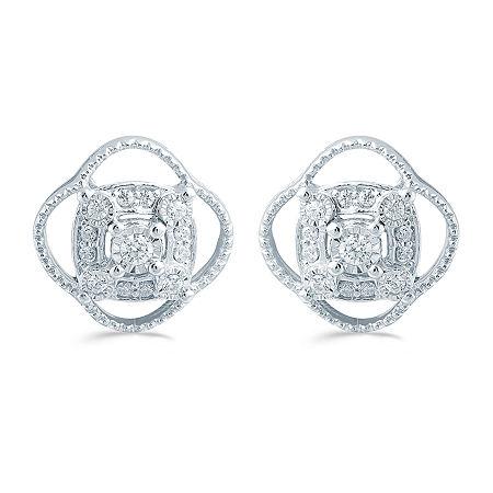 1/5 CT. T.W. Genuine White Diamond Sterling Silver 11.4mm Flower Stud Earrings, One Size