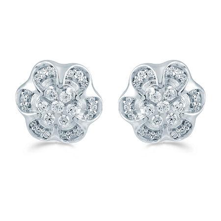 1/3 CT. T.W. Genuine White Diamond Sterling Silver 10.6mm Flower Stud Earrings, One Size