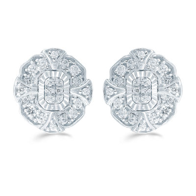 3/8 CT. T.W. Genuine White Diamond Sterling Silver 11.2mm Flower Stud Earrings