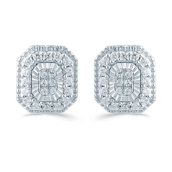1/3 CT. T.W. Genuine White Diamond Sterling Silver 9.1mm Stud Earrings