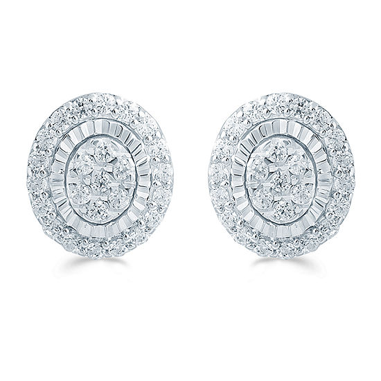 1/3 CT. T.W. Genuine White Diamond Sterling Silver 8mm Stud Earrings