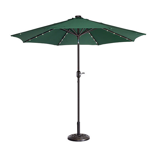 Villacera 9-Ft Solar Powered Led 8 Steel Ribs And Push Button Tilt Outdoor Market Patio Umbrella