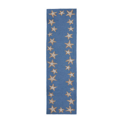 Liora Manne Starfish Border Bluewa Hand Tufted Rectangular Indoor/Outdoor Rugs