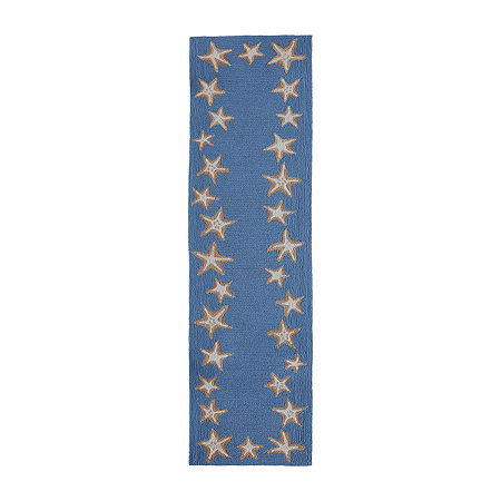 Liora Manne Starfish Border Bluewa Hand Tufted Rectangular Indoor/Outdoor Rugs, One Size , Blue Product Image