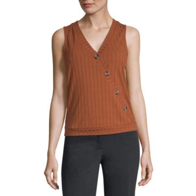 Worthington Womens V Neck Sleeveless Knit Blouse