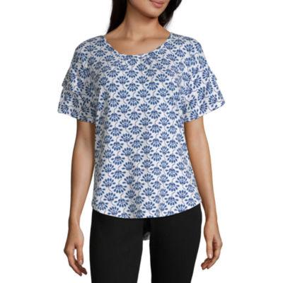 Liz Claiborne-Womens U Neck Short Sleeve T-Shirt