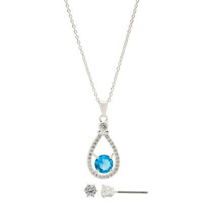 Sparkle Allure Womens 2-pc. Simulated Blue Topaz Brass Jewelry Set