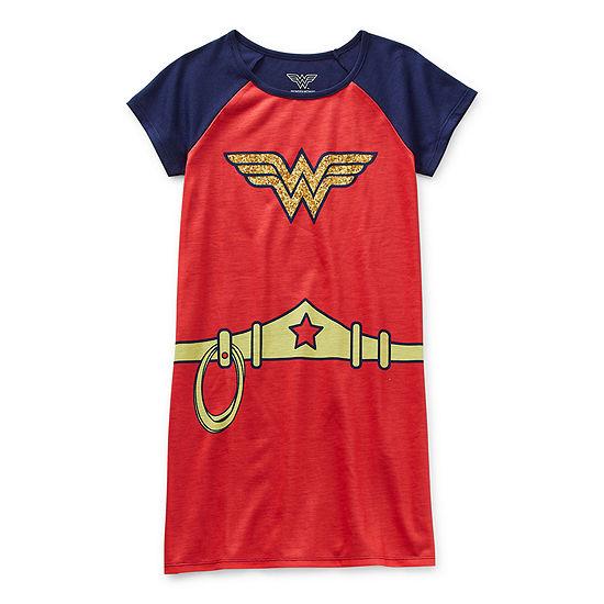Little & Big Girls Wonder Woman Short Sleeve Round Neck Nightgown