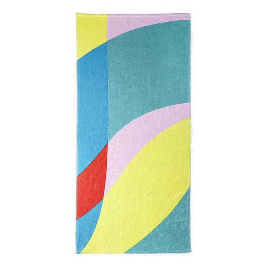Outdoor Oasis Color Block Wave Beach Towel