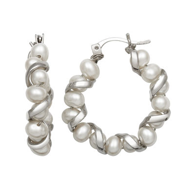 Sterling Silver Freshwater Pearl Hoop Earrings