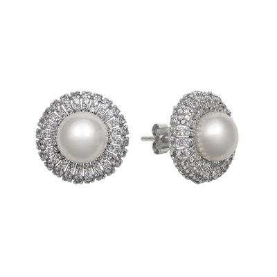 Sterling Silver Freshwater Pearl & Cubic Zirconia Earrings