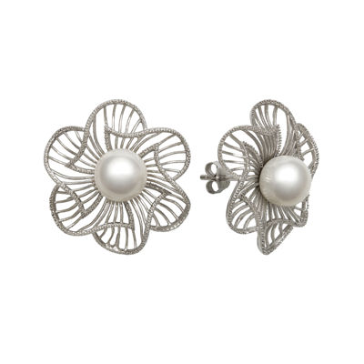 Cultured Freshwater Pearl Sterling Silver Flower Earrings