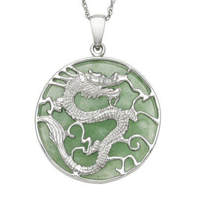 Genuine Jade Dragon Sterling Silver Pendant Necklace