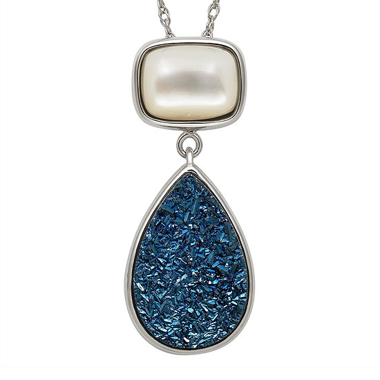 Mother-of-Pearl & Genuine Drusy Sterling Silver Pendant Necklace