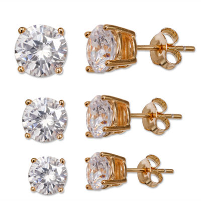 Silver Enchantment™ 3-pr. Cubic Zirconia 18K Yellow Gold Over Sterling Silver Graduated Stud Earring Set