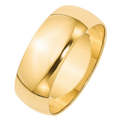 Personalized 14K Yellow Gold Half Round Lightweight Wedding Band