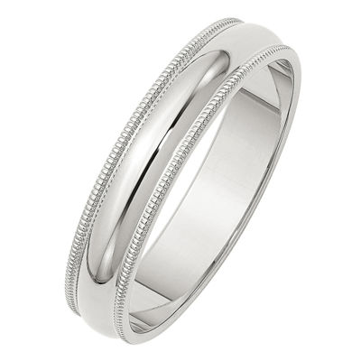 Personalized Mens Sterling Silver Milgrain Half Round Wedding Band