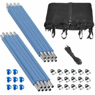Upper Bounce Trampoline Enclosure Set- to fit 14 FT. Round Frames- for 4 or 8 W-Shaped Legs -Set Includes: Net- Poles & Hardware Only