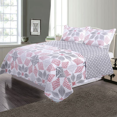 Journee Home 3 pc Reversible Printed Quilt Set
