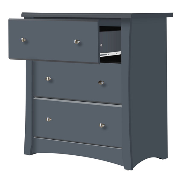 Storkcraft Crescent 3-Drawer Chest- Gray