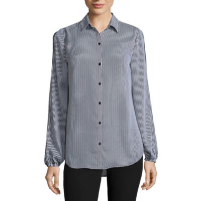 City Streets Slit Sleeve Button Down Blouse